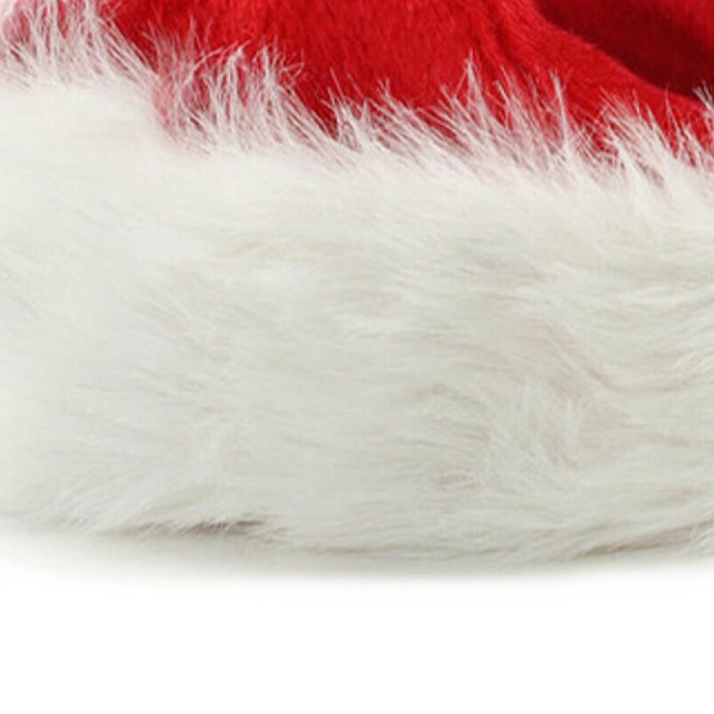 Dense Velvet Plush Christmas Hats Christmas Holiday Christmas Cap for Santa Claus (Red)