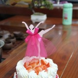 3 PCS Ballet Girl Skirt Cake Dessert Decoration Inserted Card Parties (Red)