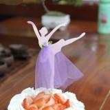 3 PCS Ballet Girl Skirt Cake Dessert Decoration Inserted Card Parties (Purple)