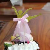 3 PCS Ballet Girl Skirt Cake Dessert Decoration Inserted Card Parties (Gold)