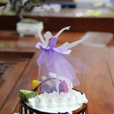3 PCS Ballet Girl Skirt Cake Dessert Decoration Inserted Card Parties (Silver)