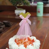 3 PCS Ballet Girl Skirt Cake Dessert Decoration Inserted Card Parties (Gold Skirt)