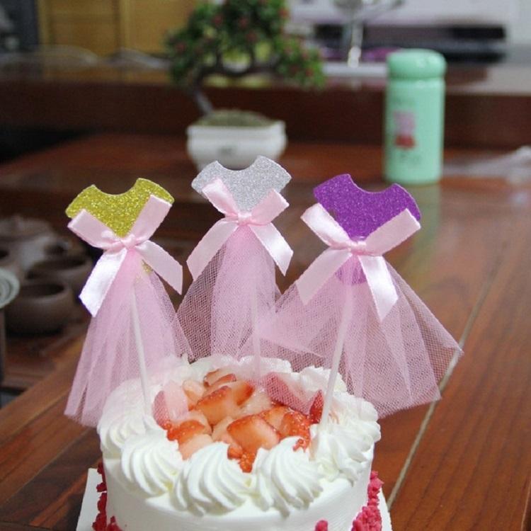 3 PCS Ballet Girl Skirt Cake Dessert Decoration Inserted Card Parties (Purple Skirt)