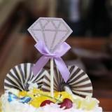5 Packs Diamond Cake Birthday Inserted Card Wedding Party Dessert Table Decoration Supplies (Purple)