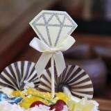 5 Packs Diamond Cake Birthday Inserted Card Wedding Party Dessert Table Decoration Supplies (Beige)