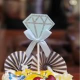 5 Packs Diamond Cake Birthday Inserted Card Wedding Party Dessert Table Decoration Supplies (Blue)
