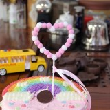 2 PCS Hairball Cake Dessert Table Decoration Inserted Card, Style: Love (Pink)