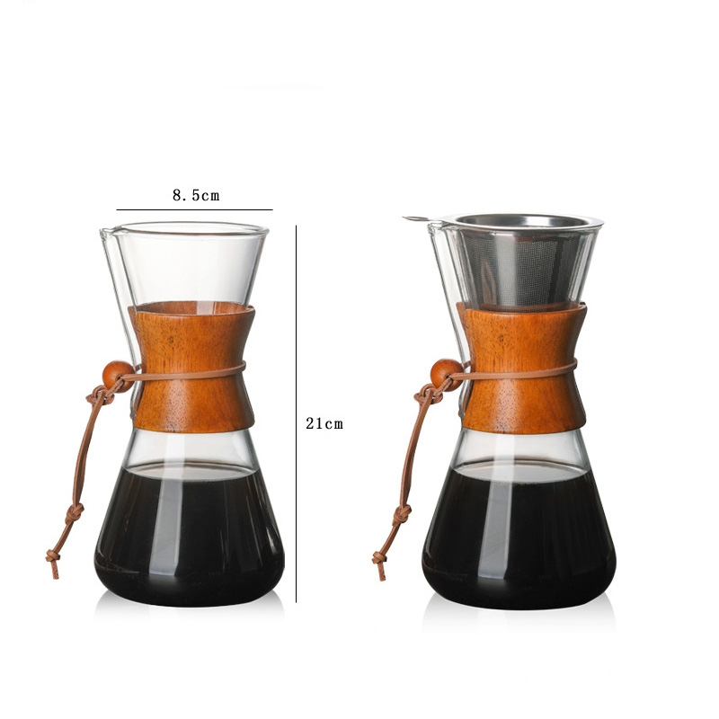 Heat Resistant Glass Coffee Pot Convenient Hand Made Pot, Specification: 600ml Coffee Pot