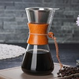 Heat Resistant Glass Coffee Pot Convenient Hand Made Pot, Specification: 600ml Coffee Pot with Strainer