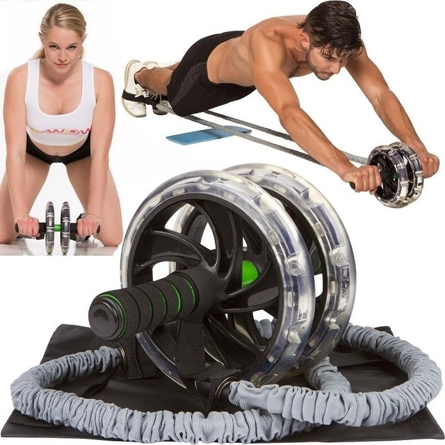 Multifunctional Roller Rope Abdominal Wheel Beginners Use Fitness Equipment Set (Pull Rope + Belly Wheel + Mat)