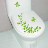 10 PCS Butterfly Flower Vine Bathroom Wall Stickers Home Decoration Wallpaper Wall Decals For Toilet Decorative Sticker (Green)