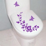 10 PCS Butterfly Flower Vine Bathroom Wall Stickers Home Decoration Wallpaper Wall Decals For Toilet Decorative Sticker (Purple)