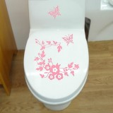 10 PCS Butterfly Flower Vine Bathroom Wall Stickers Home Decoration Wallpaper Wall Decals For Toilet Decorative Sticker (Pink)