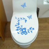10 PCS Butterfly Flower Vine Bathroom Wall Stickers Home Decoration Wallpaper Wall Decals For Toilet Decorative Sticker (Blue)