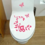 10 PCS Butterfly Flower Vine Bathroom Wall Stickers Home Decoration Wallpaper Wall Decals For Toilet Decorative Sticker (Magenta)