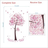 2 PCS Tree Flower Floral Butterflies Wall Stickers Decals Living Room Bedroom TV Sofa Background Decor Wall Decals Mural