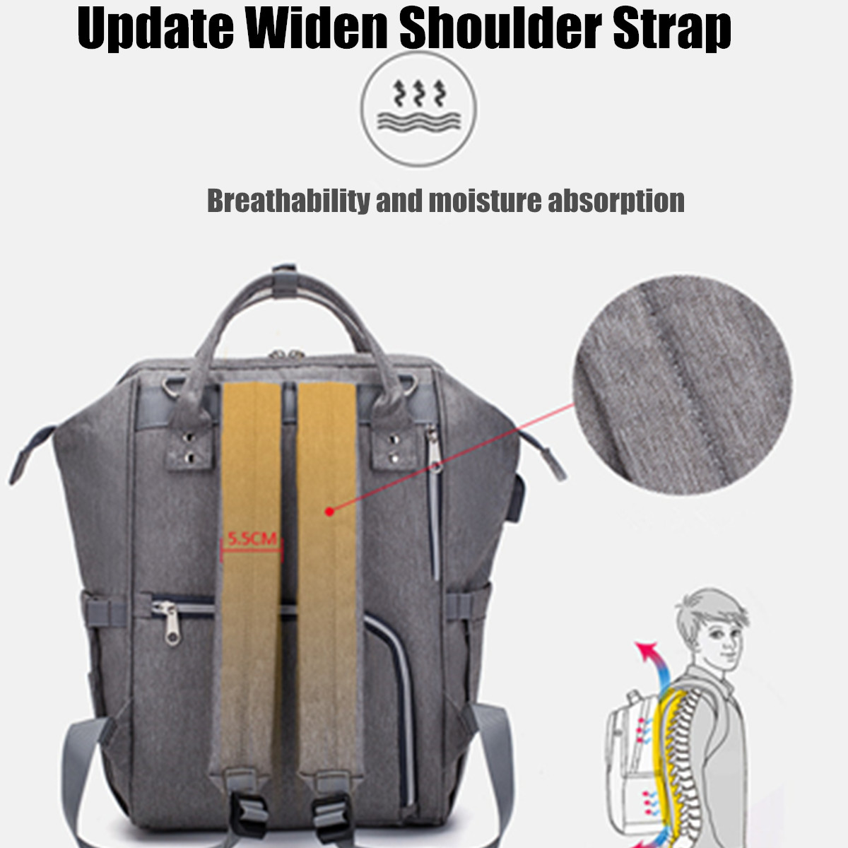 Women Large Capacity Waterproof Mummy Backpack With USB Charging Port For Travel Shopping