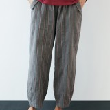 Plus Size Striped Elastic Waist Vintage Casual Pants with Pockets
