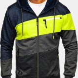 Men's Sports And Fitness Leisure Jacquard Cardigan Hooded Jacket Hoodies Sweatshirts