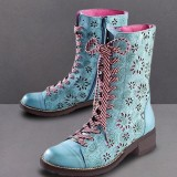 LOSTISY Women Flower Hollow Out Pattern Lace Up Chunky Heel Ankle Short Boots