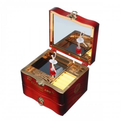 Hand Crank Rotating Dancers Ballerina Music Box Metal Antique Jewelry Box New Year Gift for Girl