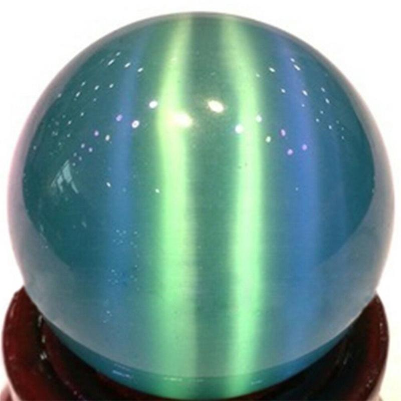 40mm Blue Cat's-eye Opal Natural Quartz Crystal Hand Healing Stone Ball Sphere Decorations