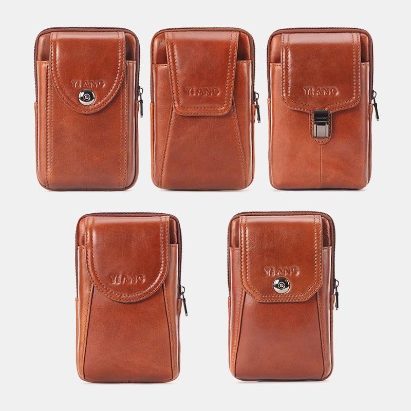 Men Genuine Leather Vintage Waist Bag Belt Bag Phone Bag