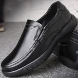 Men Genuine Leather Pure Color Soft Non Slip Casual Flats