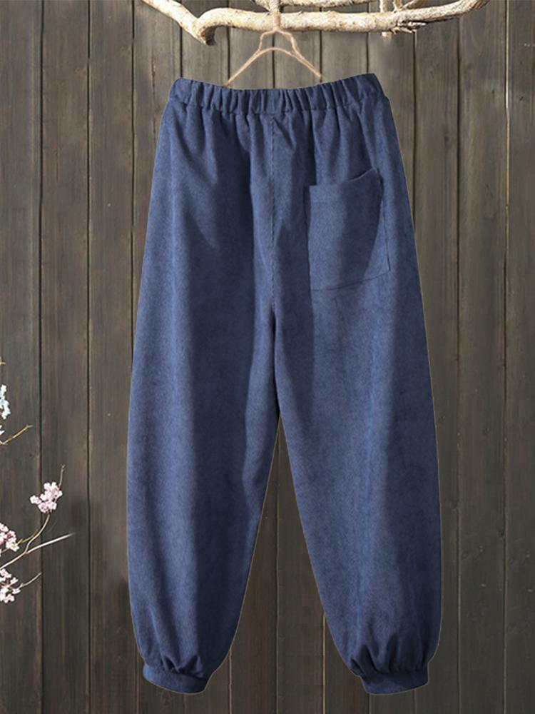Plus Size Corduroy Elastic Waist Pockets Casual Pants
