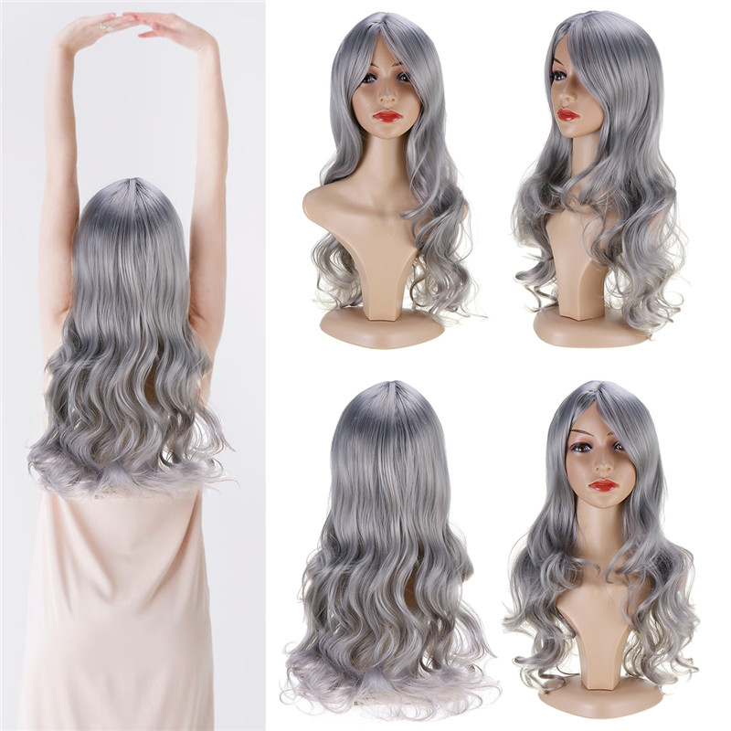 Women Wig Full Wavy Hair Extensions Heat Resistant Synthetic Grey
