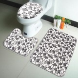 3Pcs Stone Pattern Washable Anti-Slip Soft Bathroom Pedestal Rug Toilet Lid Cover Bathroom Floor Mat Set