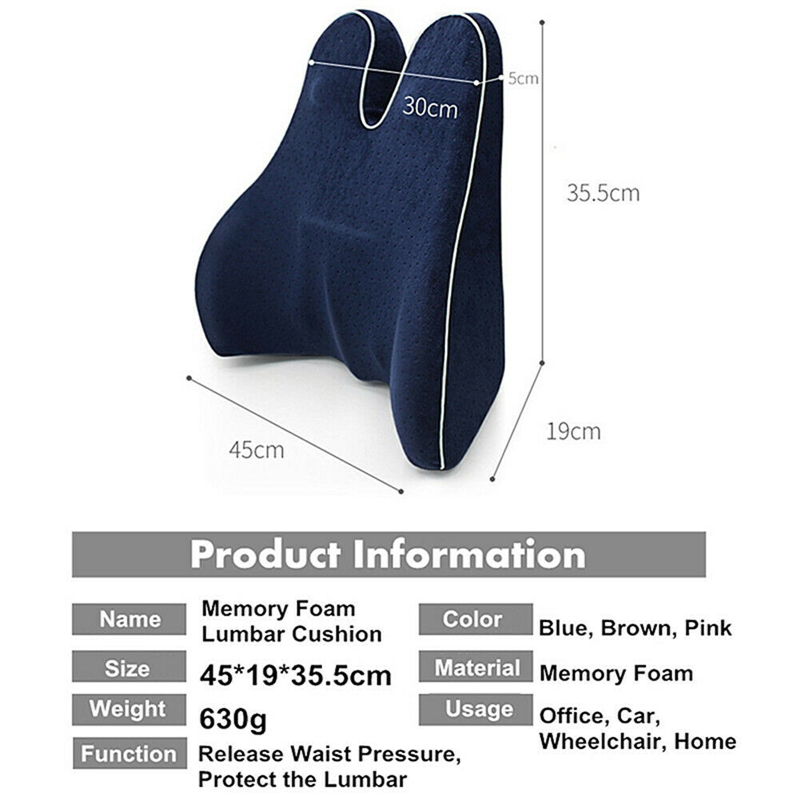 Memory Foam Seat Chair Lumbar Back Support Cushion Pillow for Car Office Home Seat Back Cushion