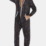 Men Black Printed Jumpsuit Thicken Thermal Loose Zip Down Hooded Loungewear Pajamas With Pockets sleepwear