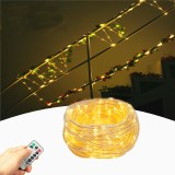 Battery Powered 8 Modes Waterproof 10M Warm White 100LED Tube String Light With Infrared Remote Control