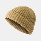Mens Knitted Solid French Brimless Hats Retro Skullcap Sailor Cap