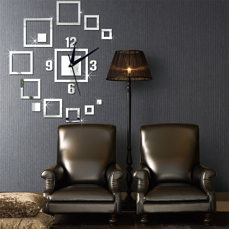 Creative Mirror Wall Clock Square Mirror Clock 3D Acrylic Living Room Wall Clock