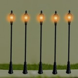 5Pcs/Set 1:100 HO Scale LED Model Post Street Garden Light Railway Train Lamps