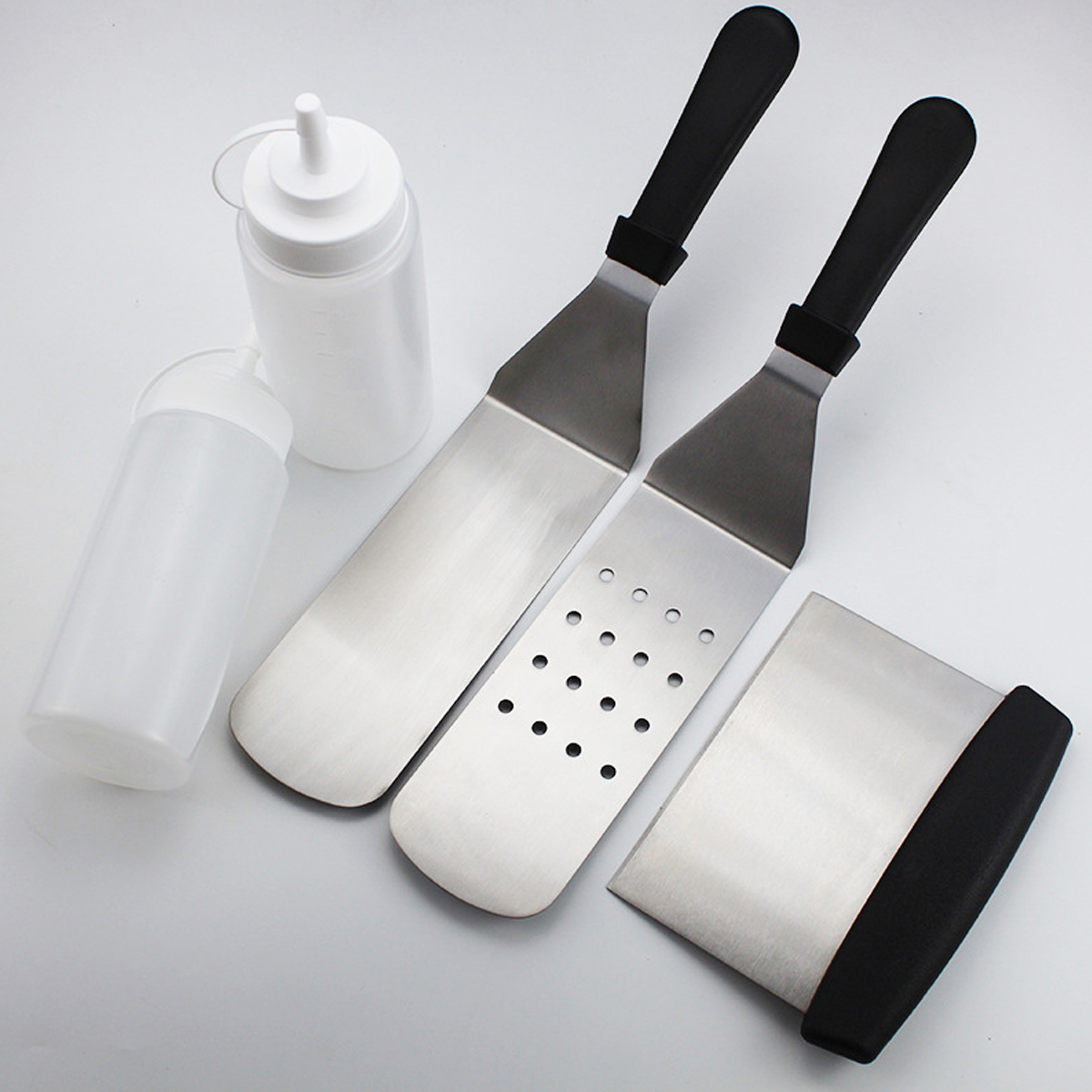 5Pcs Stainless Steel Griddle Cooking Tools Kit for Grill Salad Scraper Chopper Pizza BBQ Baking Kitchen Tools