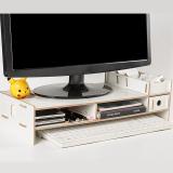 Wooden Monitor Bracket Stand Desktop Storage Shelf Laptop Stand Computer Screen Rack Desk PC Riser Holder Organizer