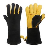 662F 1 Pair BBQ Oven Gloves Welding Gloves Heat Resistant Protect PU with Cotton Work Gloves