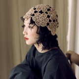 Women Hand-crocheted Beanie Caps Retro Literary Casual Foldable Turban Hat