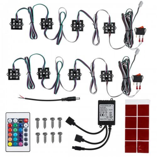 8Pcs RGB 48 LEDs Rock Car Decoration Lights Truck Bed Under Body Light Kit+IR Remote Control
