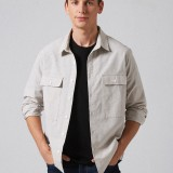 Mens Cotton Fabric Double Pockets Long Sleeve Loose Fit Casual Casual Shirts