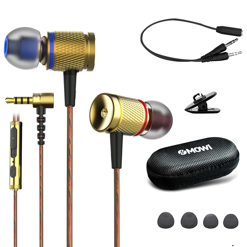 Plextone DX2 3.5mm Wired Control Earphone Metal Stereo Gaming Sports Music In-ear Headphone with Mic