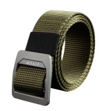 ZANLURE 130cm Aluminum Buckle Canvas Belt Nylon Wear-resistant Braided Tactical Belt Quick-drying Outdoor Belt