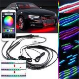 90x120cm 15W APP bluetooth 126LED RGB Under Car Tube Underglow body Strip Light Kit Wireless Control DC12V