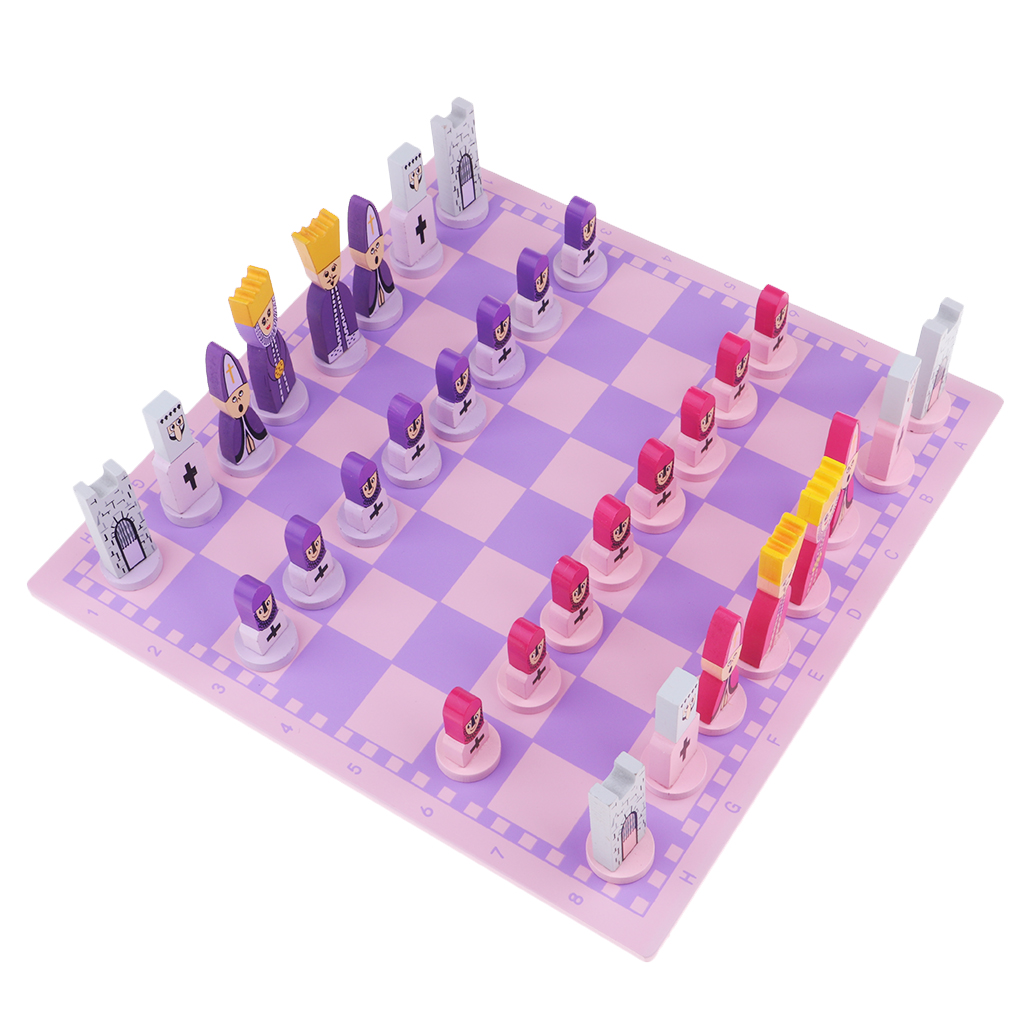 Travel Chess Set with Chess Board Educational Toys for Kids and Adults Pink