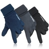 Womens Mens Winter Suede Gloves Touch Screen Windproof Thermal Warm Outdoor Driving Skiing Gloves Mittens