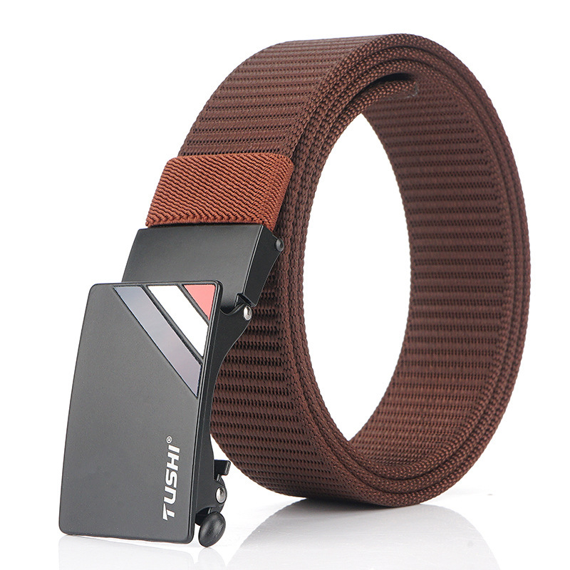 TUSHI 125cm Thick Nylon Belt Quick Release Metal Buckle Business Tactical Belt