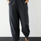 Plus Size Striped Elastic Waist Casual Pants with Pockets